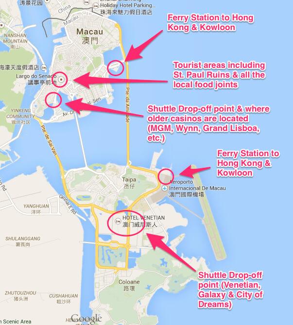 Места откуда и куда возят бесплатные автобусы в Макао