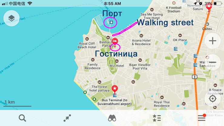 Карта расположения отеля в Паттайе